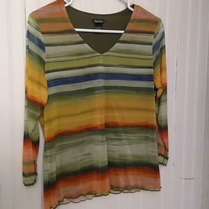 Lined multi color top with sheer sleeves